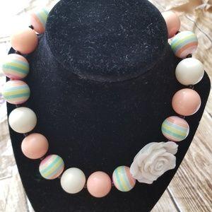 New Bubble Gum Bead Necklace Peach Cream